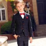 Rūtains zēnu uzvalks. Trīsdaļīgs uzvalks Hugo