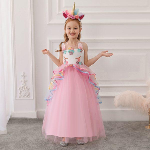 Gara princešu kleita Vienradzis rozā
