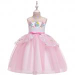 Bērnu princešu kleita Vienradzis rozā