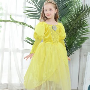 Gara princeses kleita dzeltena