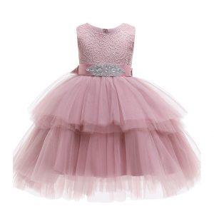 Kupla svētku kleita rozā