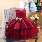 Kupla bērnu kleitiņa ar volāniem Odrija sarkana
