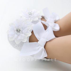 Baltas mežģīņu kurpītes