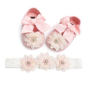 Rozā mežģīņu kurpītes