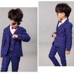 Rūtains bērnu uzvalks zils komplektā ar kreklu