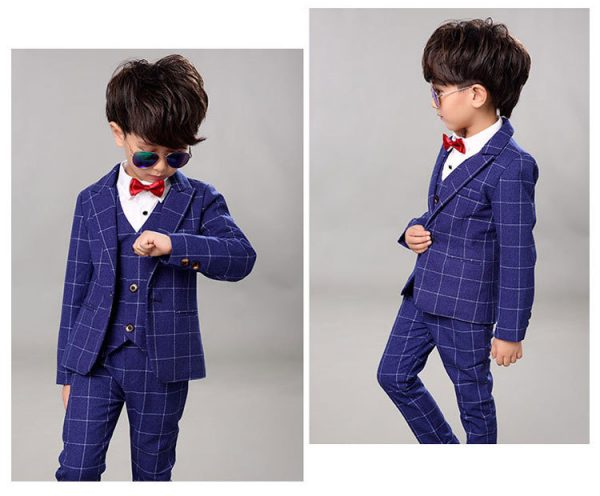 Rūtains bērnu uzvalks zils